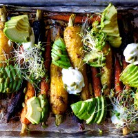 roasted carrots with avocado and yogurt
