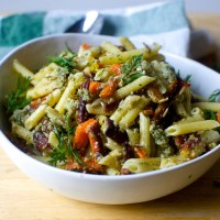 pasta salad with roasted carrots and sunflower seed dressing