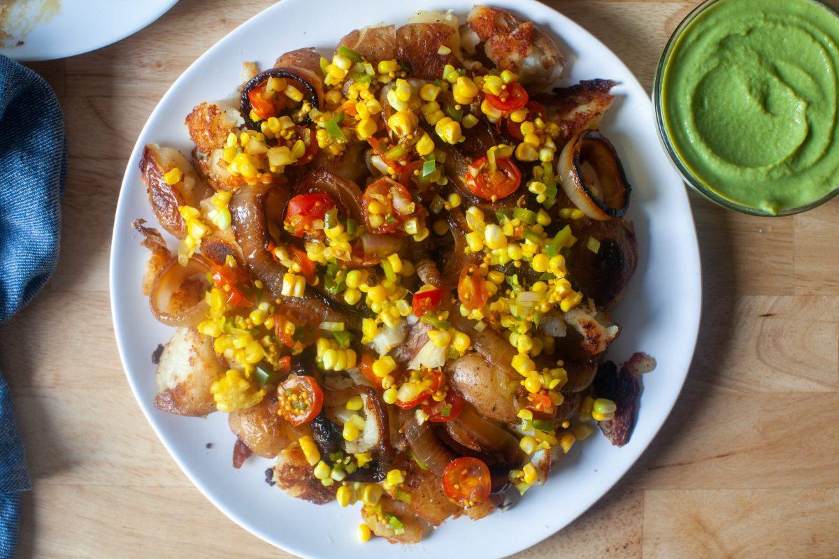 smashed potatoes with sweet corn relish