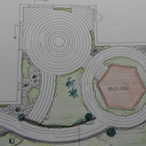 En 8-kantet pavillon tegnet ind...