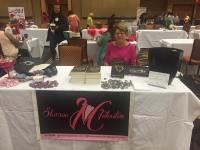 My mum, Lynda, with my table at the Reader Writer Roundup