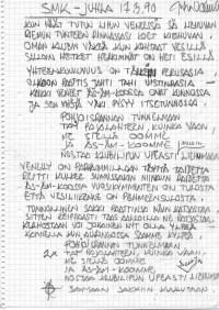 Juha Vainion käsikirjoitus lauluun Näin meillä SMKssa, jonka hän kirjoitti klubin 60 vuotisjuhlissa Kalastajatorpalla 1990 (SMK)