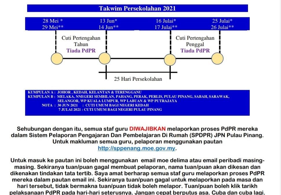 Memo untuk warga guru SMK Penanti