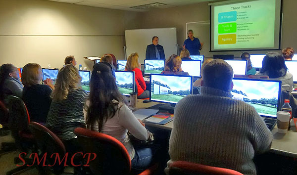 Karen Tiede and Martin Brossman teaching the Social Media Management Certificate Training at NCSU Spring 2014