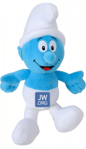 Smurf doll with JWorg logo