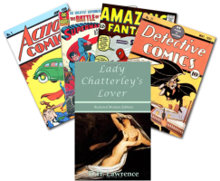comic books and Lady Chaterly's Lover paperback