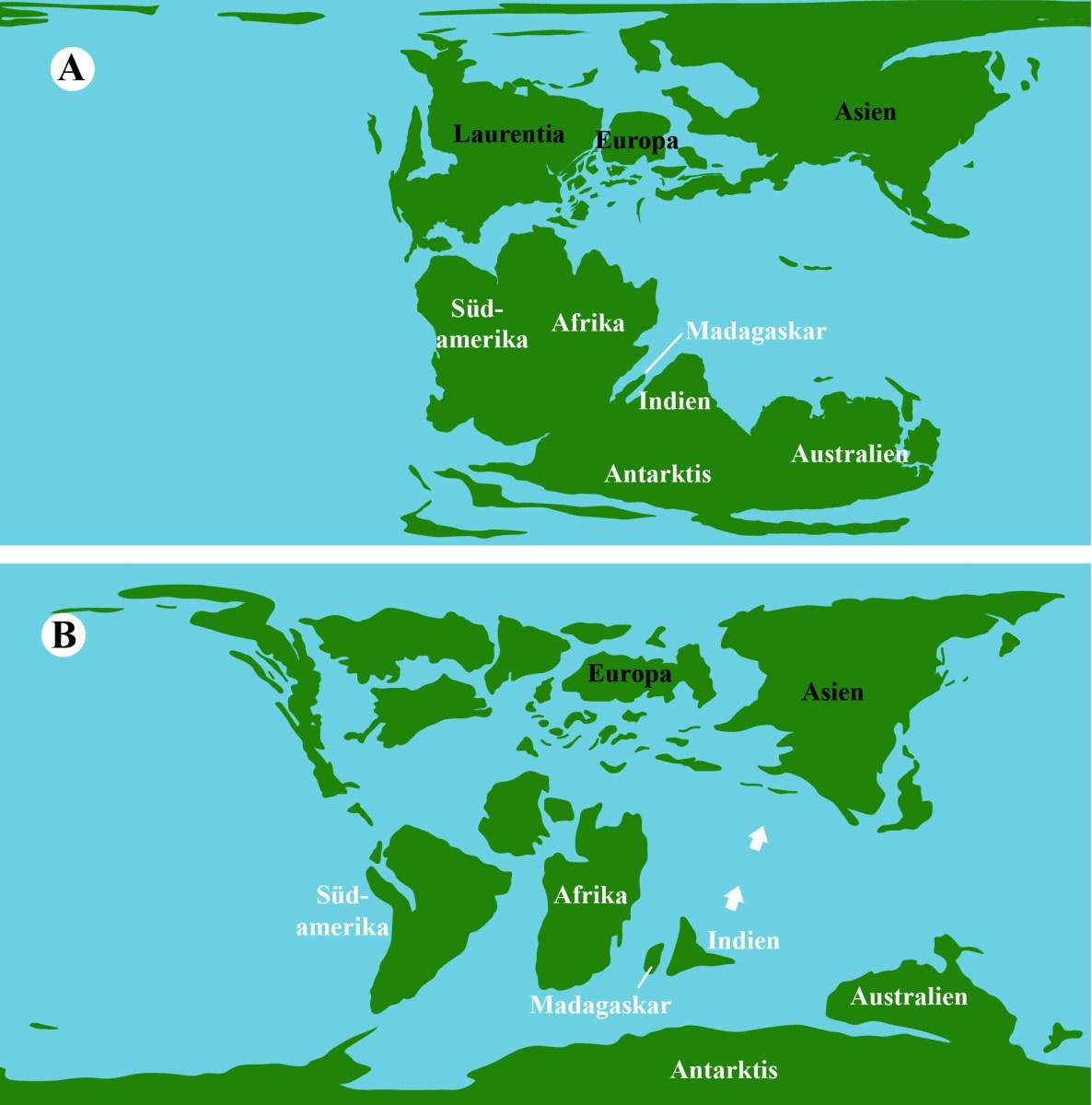 Lage der Kontinente