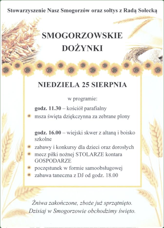 Plakat dożynek wSmogorzowie 2019