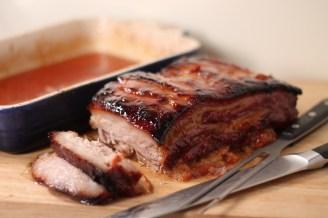Sweet cured pork belly carve