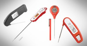 collage of instant read thermometers