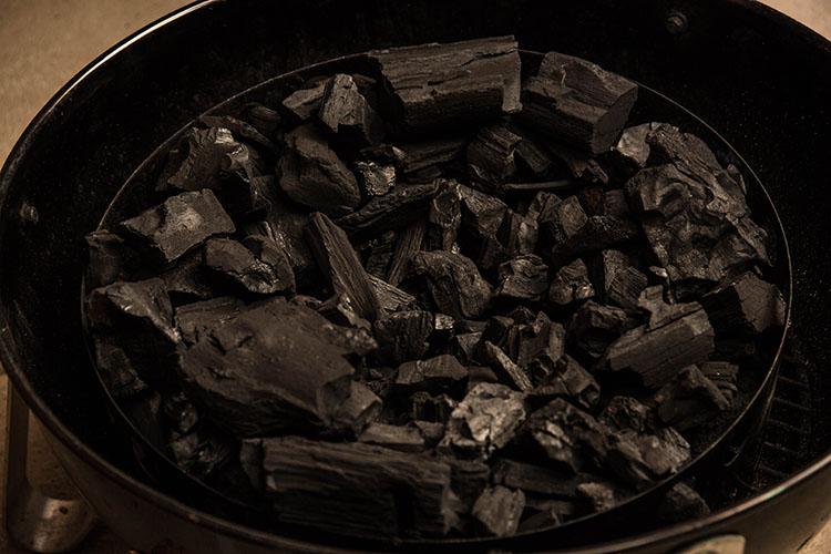 lump charcoal in a weber smokey mountain