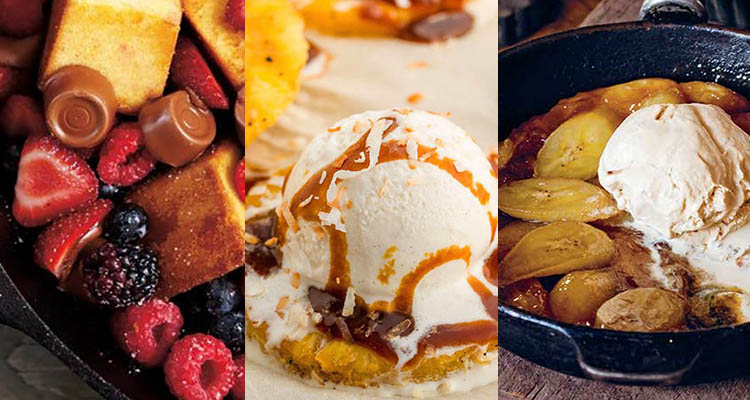 collage of grilled desserts