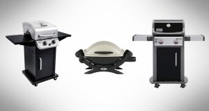 Collage of the best small gas grills next to each other