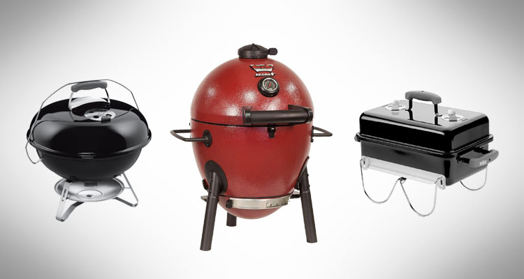 Collage of charcoal portable grills
