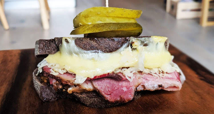 Reuben sandwich with homemade smoked pastrami