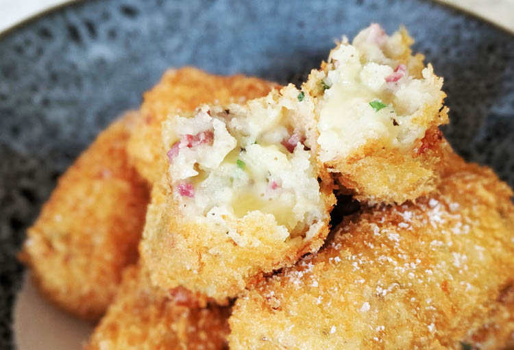 cooked pastrami and cheese croquettes