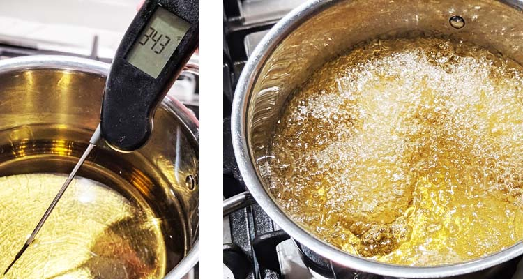 oil in pot on stove cooking croquettes, thermometer reading oil temperature