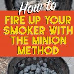 charcoal heating up in a smoker via the minion method