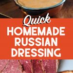 images of russian dressing along with a title of recipe
