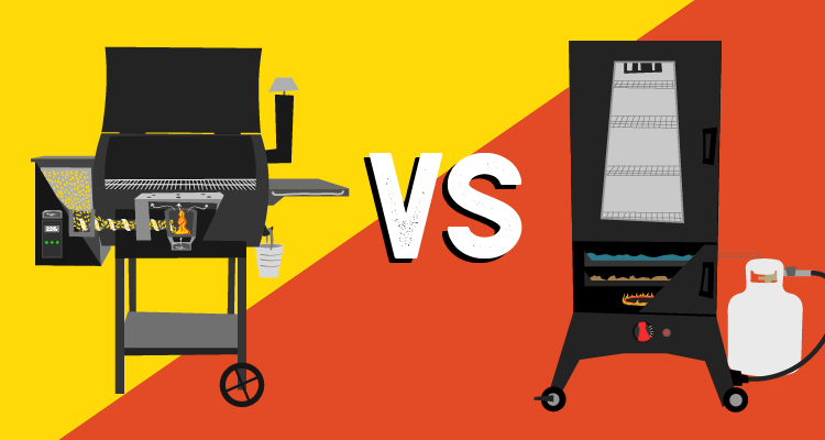 Illustration of pellet grill and propane smoker side by side