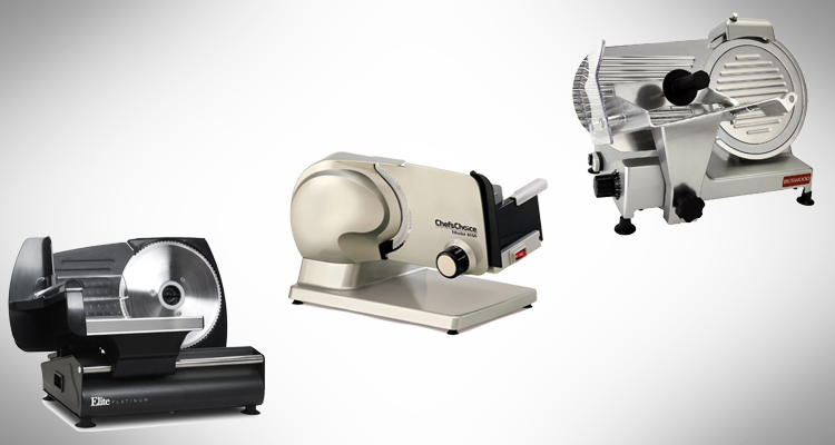 Different models of meat slicer on a background