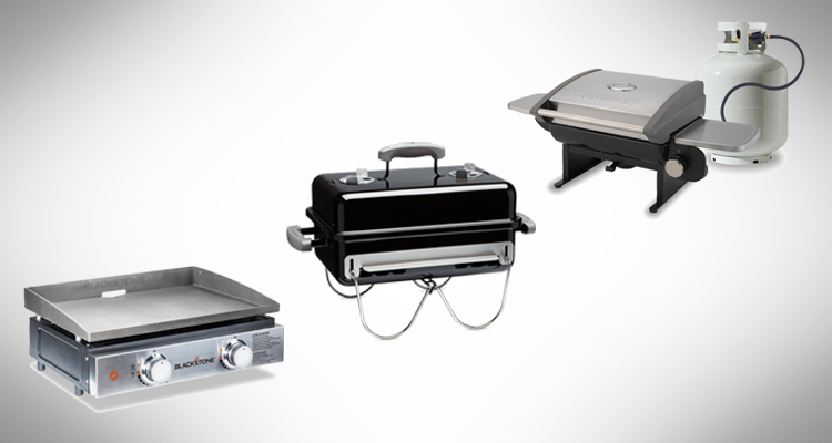Collection of the best tabletop grills on a grey background