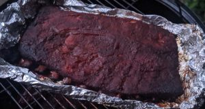 ribs on smoker in foil