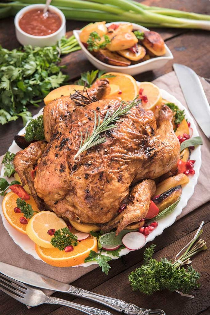 cooked citrus and herb butter turkey