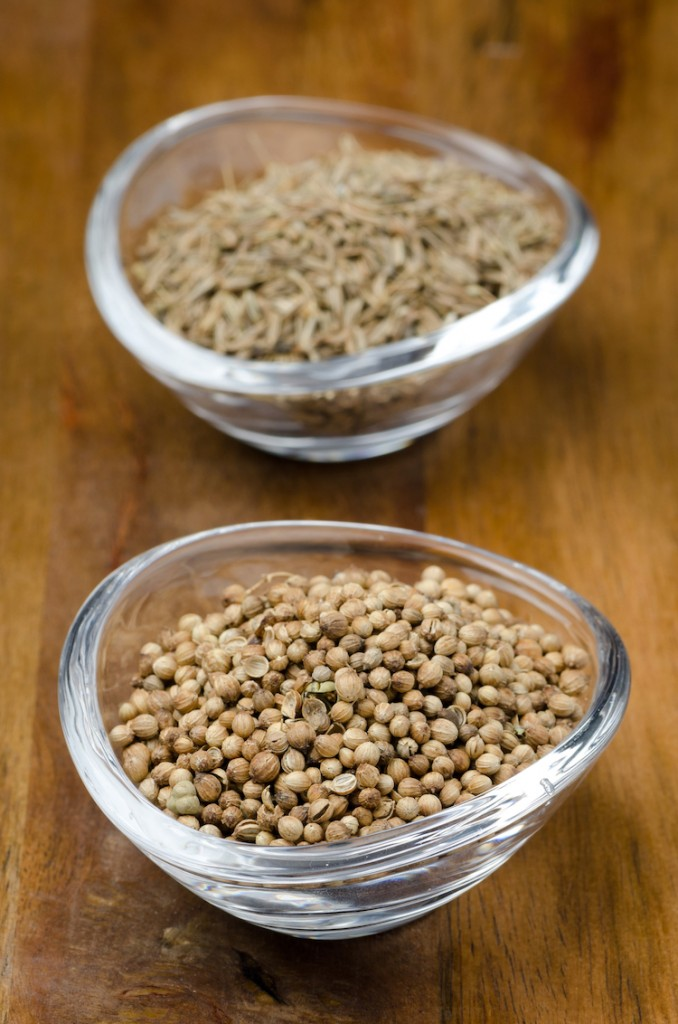 Coriander seeds in a transparent bowl