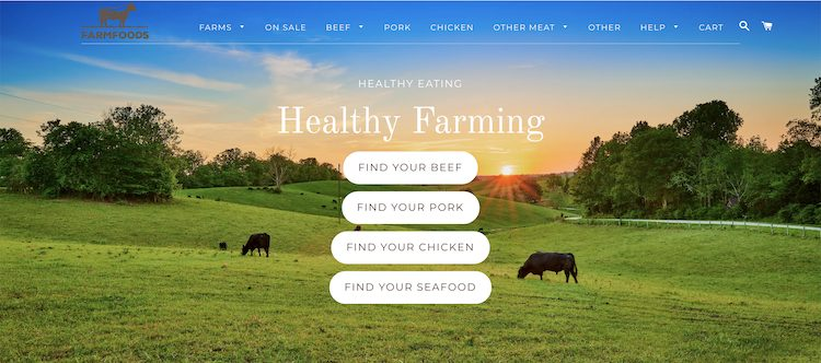 Farm Foods Market website homepage screenshot