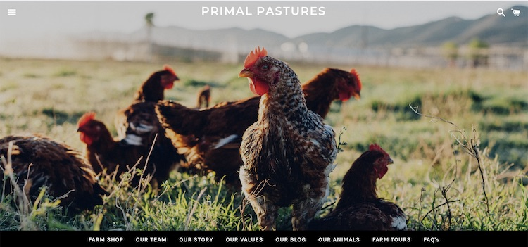Primal Pastures organic meat delivery website home page