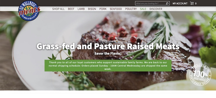 US Wellness Meats organic meat delivery website home page