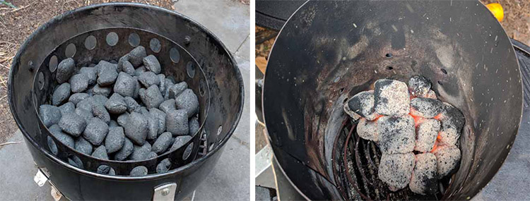 Charcoal briquettes in a charcoal smoker and a charcoal starter