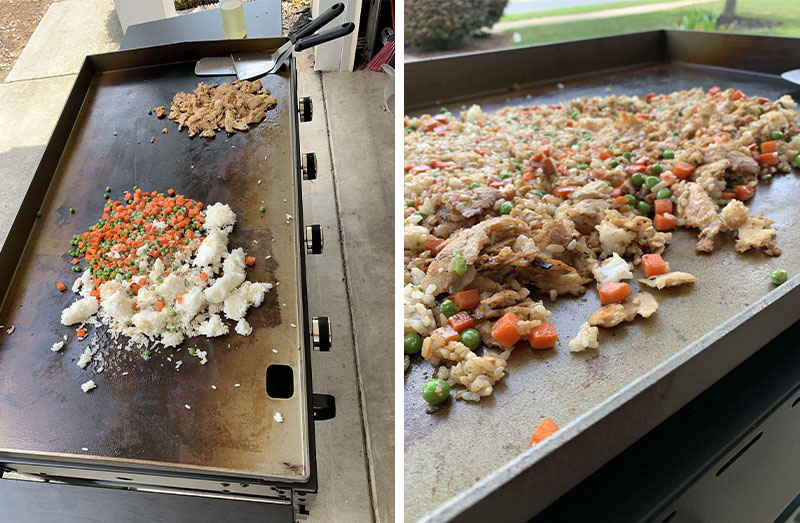 Rice, vegetables and meat cooking on a griddle