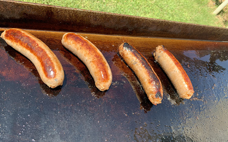 sausages on a griddle