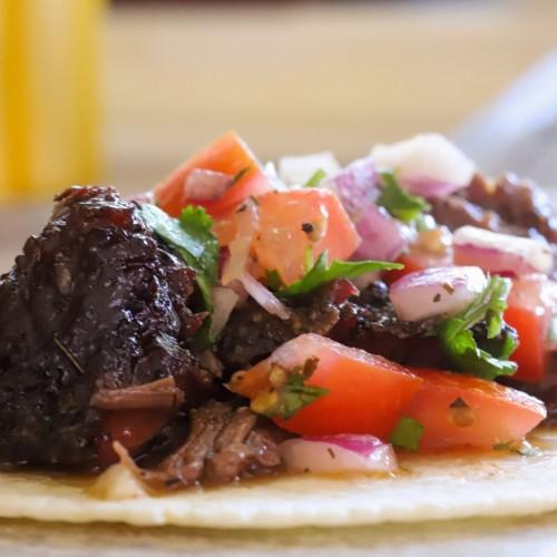 smoked beef cheeks taco