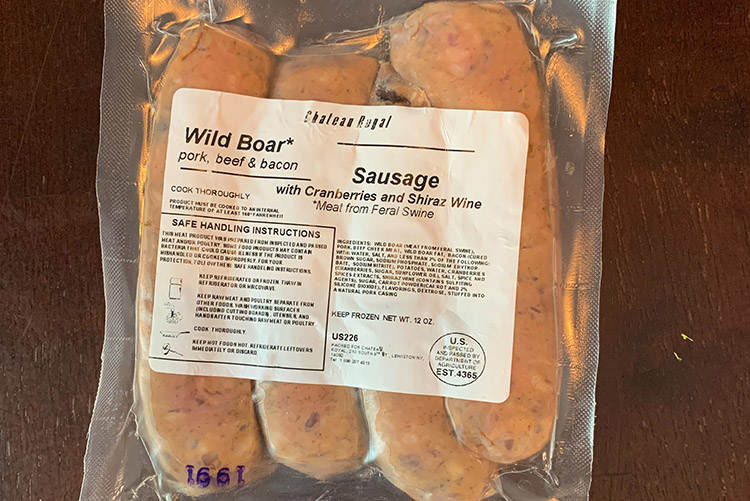 packaged wild boar sausages