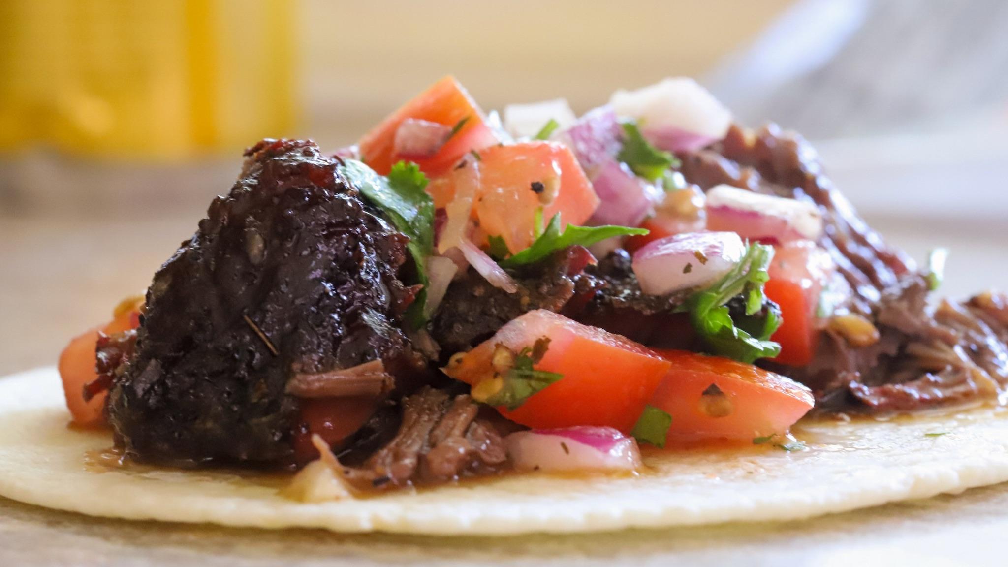 smoked beef cheeks barbacoa taco