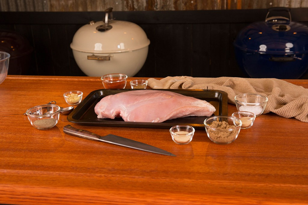 raw turkey breast with rub ingredients on table