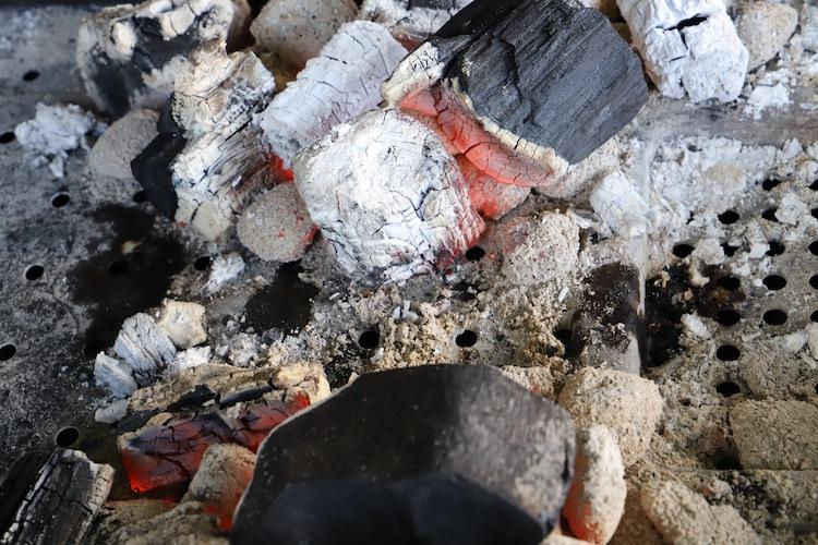 slightly burning charcoal