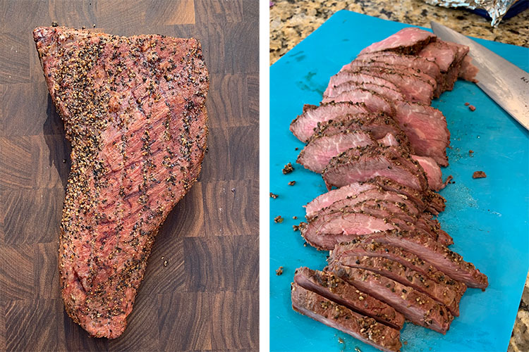 cooked tri-tip steak on a wooden board and sliced tri-tip steak on a plastic board