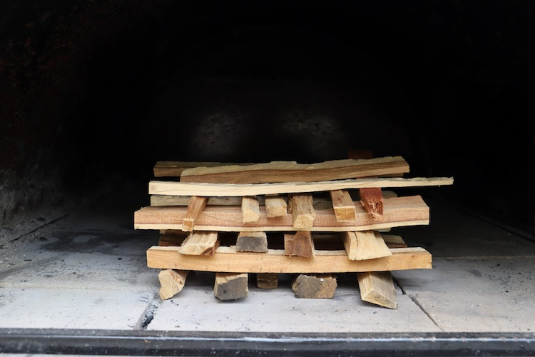 hardwood kindling stalked on top of one another