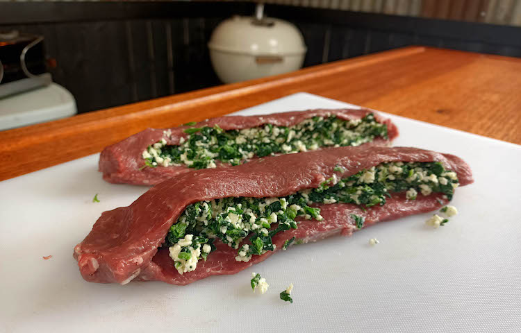 lamb backstraps filled with spinach and feta stuffing