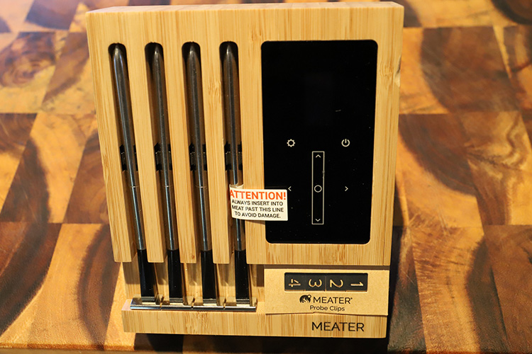 meater block thermometer on a wooden board