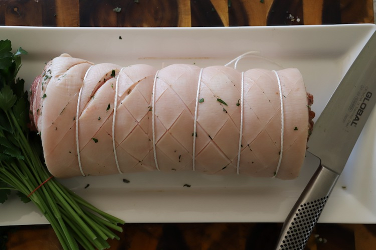 rolled pork belly tied with butcher's string