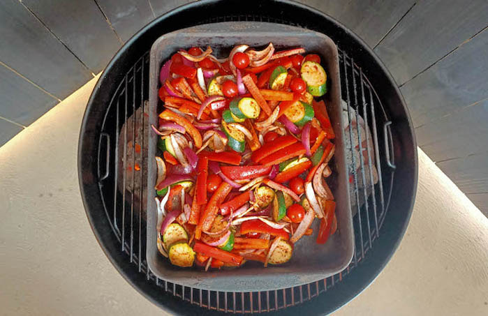zucchini salad on a weber kettle