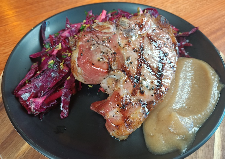 grilled pork chops with apple and beets slaw and apple sauce