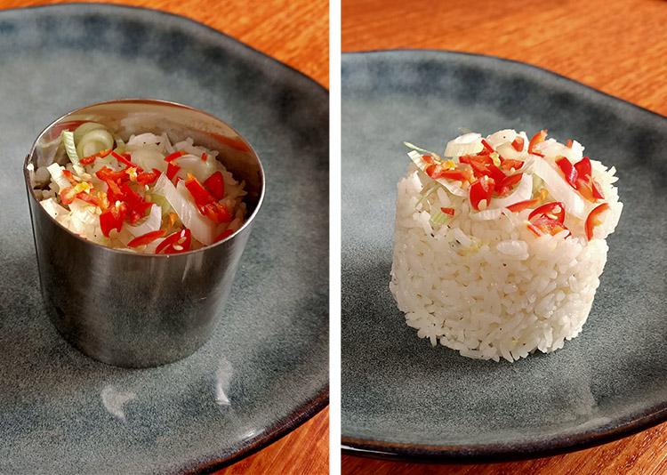 cooked jasmine rice garnished with chili and scallions