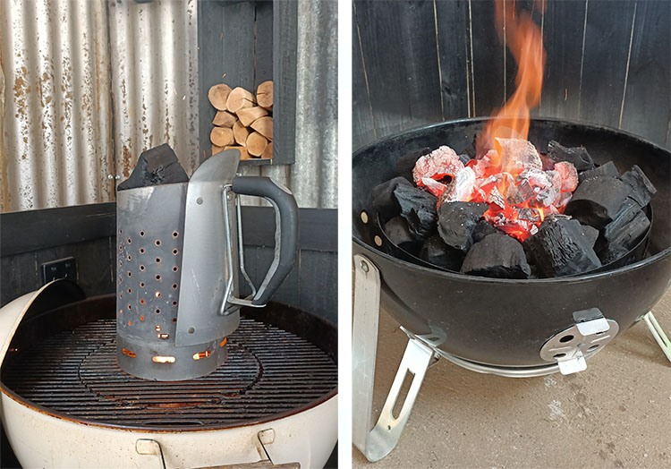 charcoal chimney and bottom of the Weber Smokey Mountain with lit charcoal