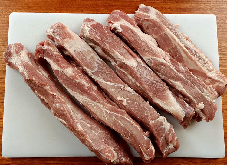 sliced pork collar butt for char siu pork recipe